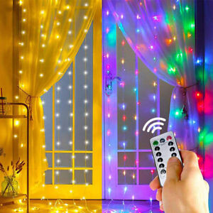 LED Curtain Fairy Hanging String Light Wedding Party USB Powered Wall Decor Lamp $13.06