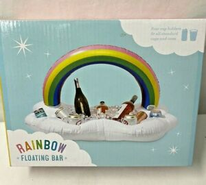 Inflatable Floating Rainbow Drink Ice Holder Table Cooler Pool Summer Party