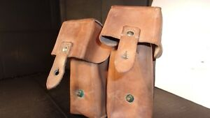 Surplus Leather Yugoslavian SKS dual mag pouch VERY GOOD EXCELLANT $4.99