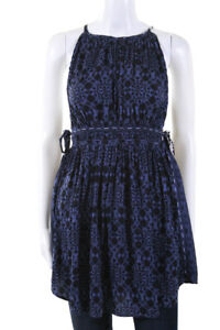 Free People Womens Mid Summers Day Tunic Blouse Blue Black Size Medium