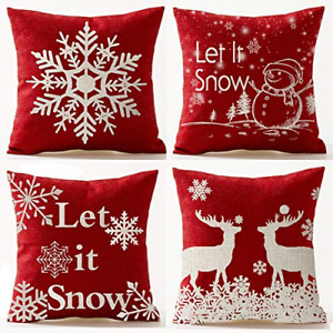 Andreannie Set of 4 Red Merry Snowflakes Happy Winter Let It Snow Red Cotton 18 $26.93