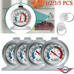 Refrigerator Freezer Thermometer Fridge DIAL Type Stainless Steel Hang Stand 1 5