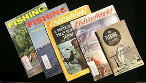 4 FISHING WORLD MAGAZINES1969 1970 1 CATALOG 1966 Trophy Trout Stripers VG