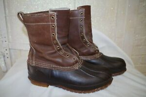 ^ LL Bean Maine Hunting size Mens 10 M Duck Boot Lace up Brown Leather amp; Rubber
