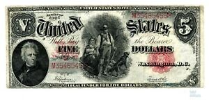 1907 $5 United States Note quot;WOOD CHOPPERquot; Fr 91 Speelman White