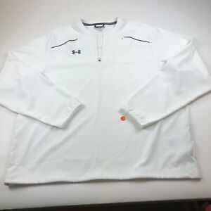 Under Armour XL White Mens Quarter Zip Pullover Stretch Long Sleeve $32.39