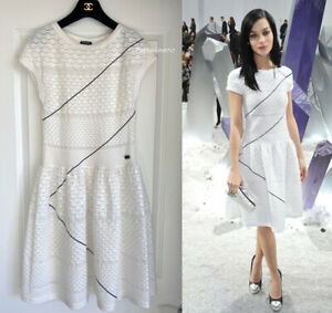 NEW $4535 GORGEOUS CHANEL 12P RUNWAY WHITE FIT FLARE DRESS 40 $750.00