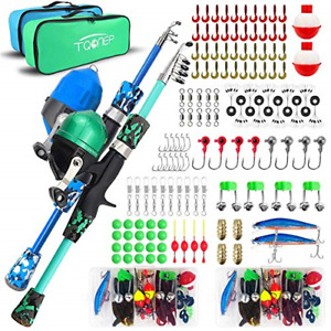 TQONEP 2 Pack Kids Fishing PolesFishing Rod and Reel 132 Pieces Combo Set with