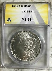 1879 S 90% Silver Morgan Dollar ANACS Certified Mint State 63 $175.98
