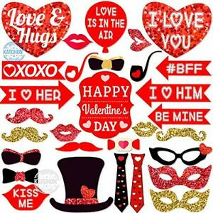 Valentines Days Photo Booth Props for Valentines Day Pack of 30 Real Red a