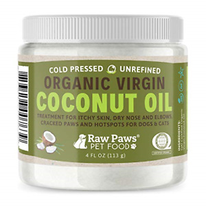 Raw Paws Organic Coconut Oil for Dogs amp; Cats 4 oz Treatment for Itchy Skin amp;