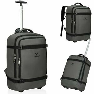 42L Travel Backpack Flight Approved Luggage Rolling Wheeled Bags Suitcase Grey