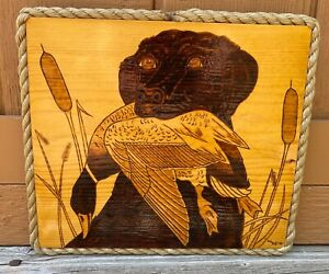 Labrador Retriever with Duck Hunting Wood Burning Pyrography Wall Hanging $27.00