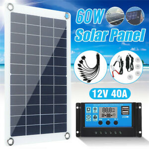 60W 12V 40A Solar Panel Kit Dual USB Boat Car Battery Charger Controller