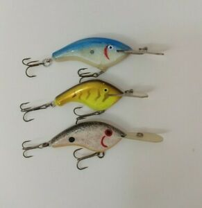 3 Custom Collection Flat Sided Handmade Wood Crankbait Fishing Lures Lot of 3
