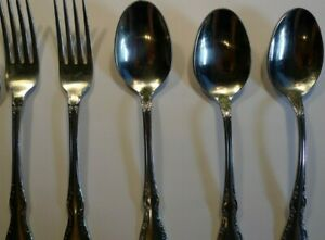 Oneida Mansion Hall Distinction Stainless 2 Dinner Forks 3 Soup Spoons