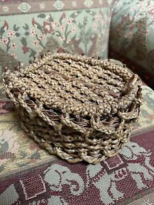 Antique ? Sewing Accessory vintage woven sewing basket $45.00