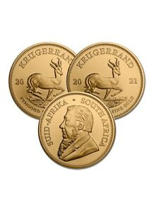 Lot of 3 Gold 2021 South African Krugerrand Gold 1 oz Gold Coins $5644.68