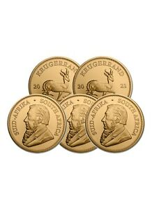 Lot of 5 Gold 2021 South African Krugerrand Gold 1 oz Gold Coins $9402.80