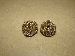 VINTAGE Givenchy Designer Signed Gold Tone Chunky Braided Knot Clip On Earrings $69.99