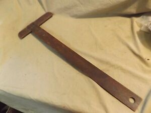 Primitive Antique 19th C Folk Art Chip Carved Wood Drafting T Square Tool 10x28quot; $19.99