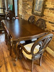 Dining Room Set: Table w 8 Chairs 2 Leaves and Glass China Cabinet Solid Wood