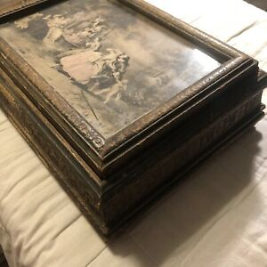 Vintage Wooden Hinged Mirror Jewelry Trinket Box with Framed Victorian Print $22.75