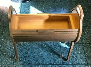 Vintage Mid Century Danish Roll Top Wood Sewing Storage Box MCM Accent Table $159.99