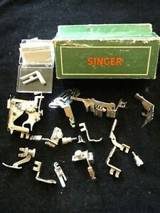 vintage green cardboard Singer box with 13 Singer Simanco foot attachments $35.00