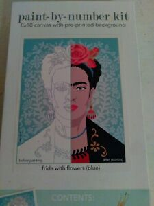 Elle Cree Paint By Number Kit Frida With Flowers Blue 8 X 10 Inch Canvas Kahlo $27.90