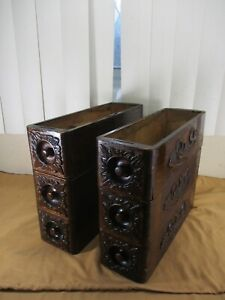 STRONG Antique Ornate Wood Treadle Sewing Machine Drawers Set of Six 6 $134.99