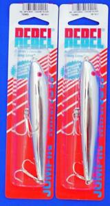 2 REBEL JUMPIN MINNOW TOPWATER LURES CHROME SILVER