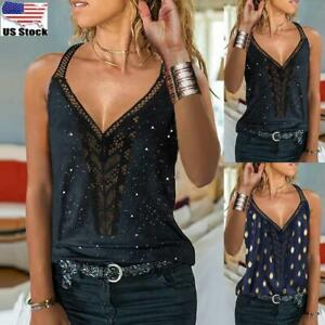 Womens Sleeveless Lace Vest Tank T Shirt Ladies Sexy V Neck Casual Tops Blouse $13.96