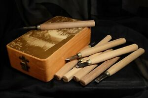 Vintage Box of Wood Carving tools Box CEH 1989 old tools from Japan $35.00