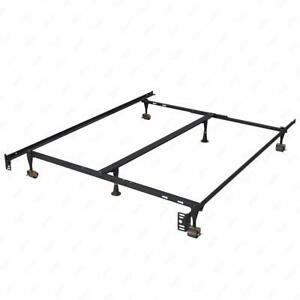 Metal Bed Frame Adjustable Queen Full Twin Size W Center Support Platform T46