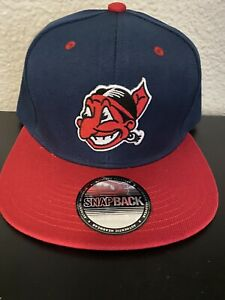 VINTAGE THROWBACK CLEVELAND INDIANS CHIEF WAHOO LOGO BLUE amp; RED CAP HAT NEW ⚾️ $35.00
