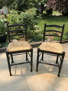 French Country Black Bar Stools with Rush Seats