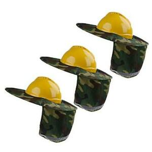 3 Pieces Hard Hat Sun Shade Sunshade Neck Shield with Full Camouflage Green