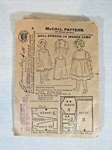 McCall Antique Sewing Pattern Special Doll Early 1900#x27;s 14quot; Empire Dress Orig $29.99