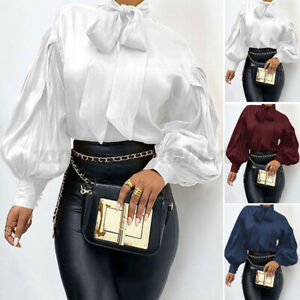 Womens Solid Long Sleeve Blouse Bow Tie Ladies Office Party OL Tops Tunic Plus