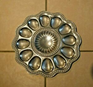 Wilton Armetale Flutes and Pearls Deviled Egg Serving Tray 11 Aluminum Alloy $19.95