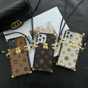For iPhone 12 11 Pro Max Luxury Retro Leather Metal Square Case Protective Case $9.99