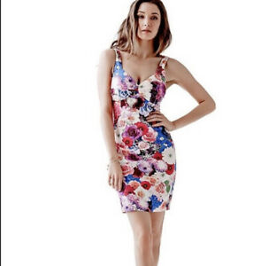 $98. Guess Womens Pink Floral April Showers Sleeveless Fitted Mini Dress Size 2 $78.00