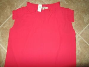 NEW LOFT Red Top Size Large Cap Sleeves Loose Fit NWT New with Tags $7.49