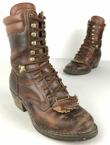 Double H Packer Boots Brown Leather Lace Up Kiltie Round Toe Work Women's Size 6