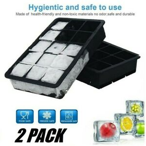 2X Ice Maker Large Cube Square Tray Molds Whiskey Ball Cocktails Silicone Big US