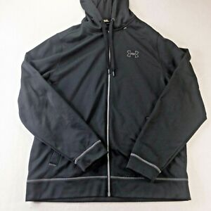 Under Armour Hoodie Mens Extra Large Black Zipper Drawstring Hooded #176 $23.39
