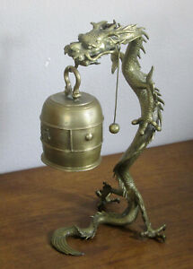 STUNNING CHINESE DRAGON VERY OLD TABLE GONG BRONZE $1005.00