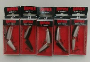 5 Rapala Floating J 7 Jointed Minnow Jerkbait Fishing Lures Lot of 5 Silver