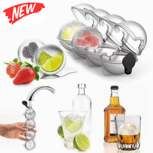 2.2quot; Bar Silicone Ice Cube 4Ball Maker Mold Sphere Large Tray Whiskey DIY Mould